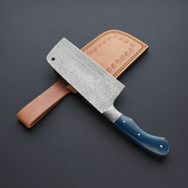 |Knives Hub| Handmade Damascus Steel Cleaver Chopper Kitchen Chef Knife Bone Handle