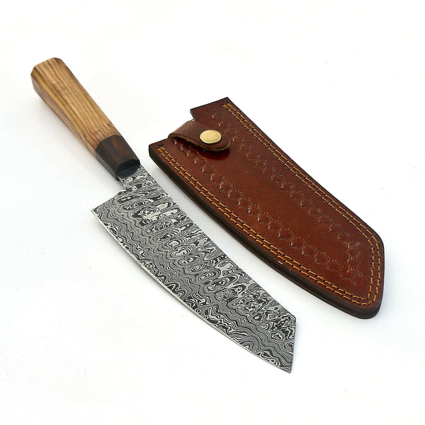 |Knives Hub| Damascus Steel Chef Kitchen Knife Handmade With Leather Sheath