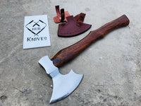 Custom Handmade Axe With Handmade Leather Sheath