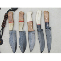 |Knives Hub| Custom Handmade Damascus Steel Skinning Knives Set Of 5 With Leather Sheath