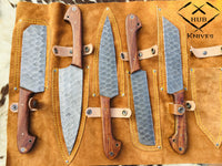 Custom Handmade Damascus Steel Chef Knives Set With Leather Roll Kit....Knives Hub