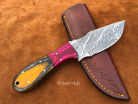 Hand Forged Damascus Steel Skinner Knife With Leather Sheath