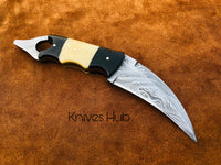 Handmade Damascus Steel Karambit Knife Camel Bone And Buffalo Horn Handle