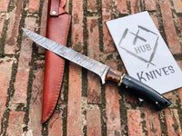Custom Handmade Damascus Steel Fillet Fish Knife With Leather Sheath