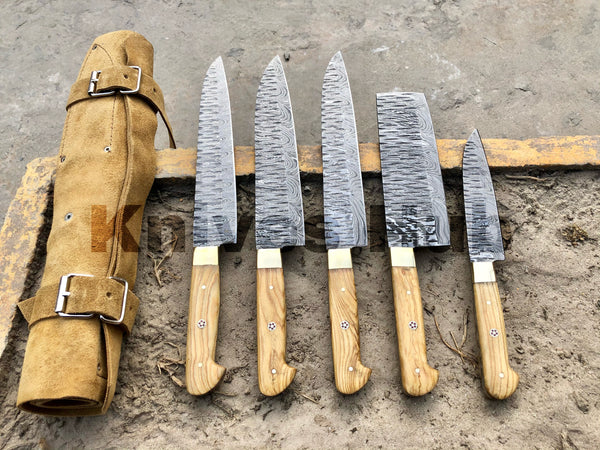 Damascus Steel Kitchen Knife Set , 5 PCS Hand Forged Kitchen Knife Set With Leather Roll Kit , Best Kitchen Knives