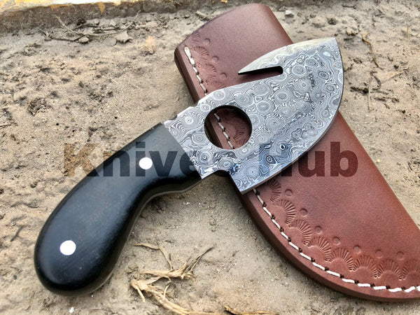 Handmade Damascus Steel Gut Hook Skinning Knife With Leather Sheath