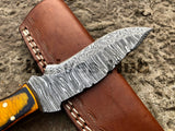 Handmade Made Fixed Blade Knife, Damascus Fixed Blade Knife, Custom Made Knife With Leather Sheath