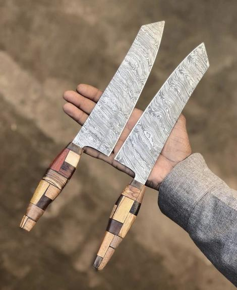Custom Handmade Damascus Steel Chef Knives With Leather Sheath