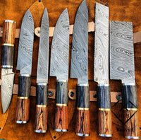 Custom Handmade Damascus Steel Chef Set With Leather Roll Kit