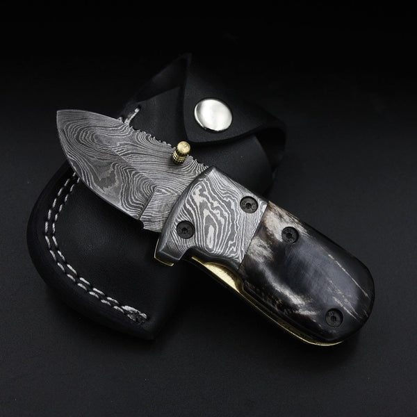 Custom Handmade Damascus Steel Folding Pocket Knife With Leather Sheath
