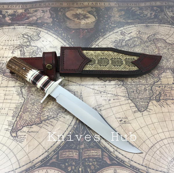 |Knives Hub| Custom Handmade Hunting Knife With Leather Sheath