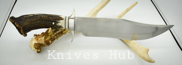|Knives Hub| Custom Handmade Stainless Steel Hunting Knife With Leather Sheath