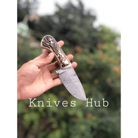 |Knives Hub| Custom Handmade Damascus Steel Skinner Knife