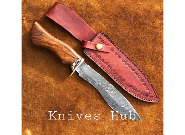 Custom Handmade Damascus Steel Kukri Knife With Leather Sheath....Knives Hub