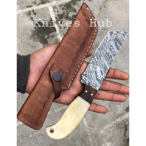 Custom Handmade Damascus Steel Fixed Blade Tanto Knife With Leather Sheath....Knives Hub