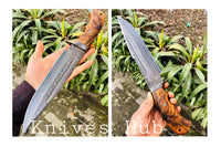 |Knives Hub| Custom Handmade Damascus Steel Hunter Knife