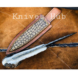 |Knives Hub| Custom Handmade Hand Forged 1095 Steel Viking Hunting Knife With Leather Sheath