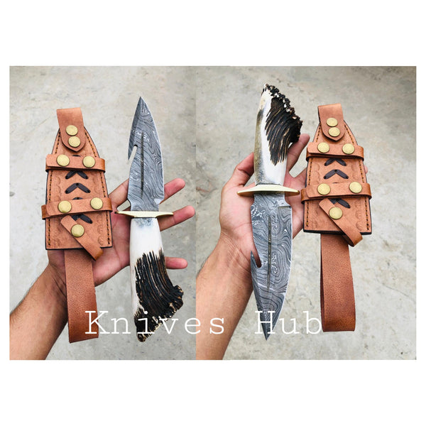 Custom Handmade Damascus Steel Gut hook Hunting Knife With Leather Sheath.....Knives Hub