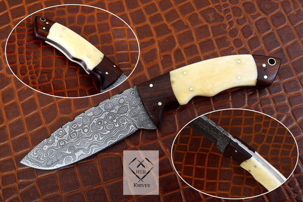 Custom Handmade Damascus Steel Skinner Knife With Quality Leather Sheath