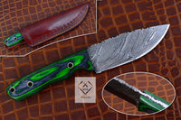 Custom Handmade Damascus Steel Skinning Knife With Quality Leather Sheath