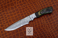 Custom Handmade Damascus Steel Hunting Knife Green Exotic wood Scale With Quality Leather Sheath