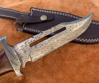 Custom Handmade Damascus Steel Hunter Bowie Knife With Leather Sheath....Knives Hub