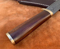 Damascus Steel Hunting Tanto Knife With Leather Sheath....Knives Hub