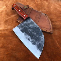 Handmade Damascus Steel Cleaver Chef Knife With Leather Sheath....Knives Hub