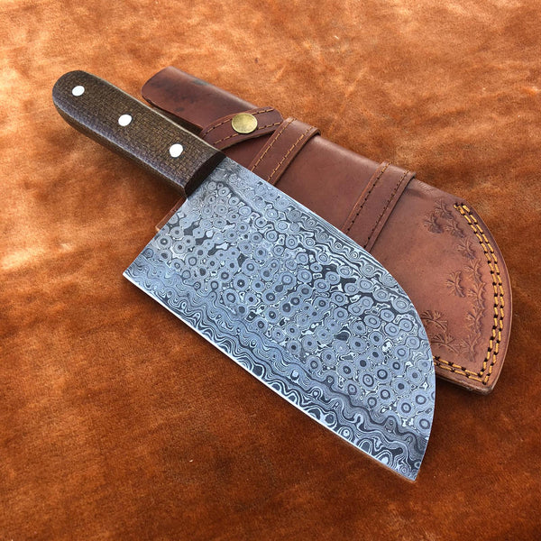 Handmade Damascus Steel Cleaver Chef Knife With Leather Sheath