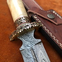 Handmade Damascus Steel Dagger Knife With Leather Sheath