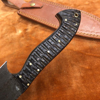 Custom handmade Damascus Steel Chef Knife With Leather Sheath....Knives Hub