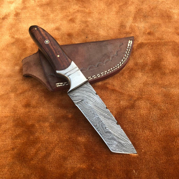 Custom Handmade Damascus Steel Tanto Knife With Leather Sheath....Knives Hub