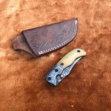 Custom Handmade Damascus Steel Pocket Folding Knife With Leather Pouch