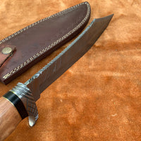 Custom Handmade Hunter Bowie Knife With Leather Sheath