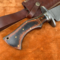 Handmade Damascus Steel Bowie Knife With Leather Sheath