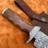 Custom Handmade Damascus Steel Bowie Knife With Leather Sheath....Knives Hub