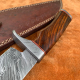 Custom Handmade Damascus Steel Hunter Bowie Knife With Leather Sheath