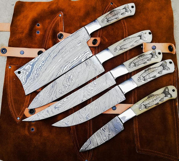 Custom Handmade Damascus Steel Chef Knives Set With Leather Sheath....Knives Hub