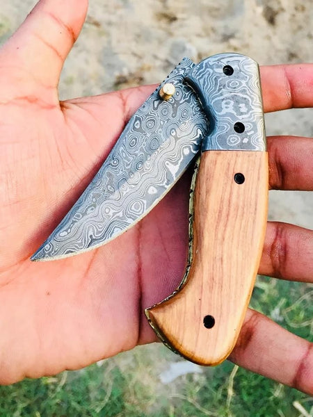 Custom Handmade Damascus Steel Folding Pocket Knife With Leather Pouch....Knives Hub