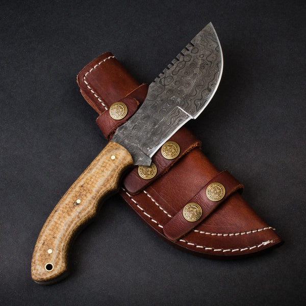 |Knives Hub| Custom Handmade Damascus Steel Tracker Hunting Knife With Leather Sheath
