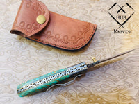 Custom Handmade Damascus Steel Folding Knife With Leather Pouch....Knives Hub