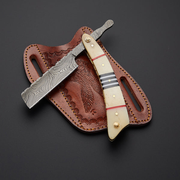 |Knives Hub| Custom Handmade Damascus Steel Straight Razor With Leather Sheath