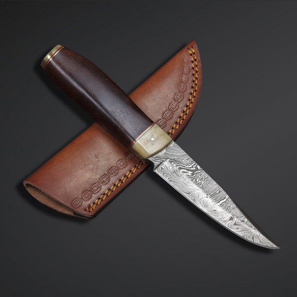 |Knives Hub| Custom Handmade Damascus Steel Skinner Knife With Leather Sheath