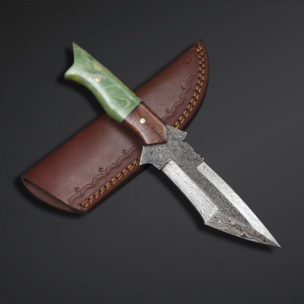 Custom Handmade Damascus Steel Hunting Fixed Blade  Tanto Knife With Leather Sheath....Knives Hub