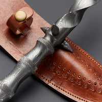 Custom Handmade Damascus Steel Dagger Knife With Leather Sheath