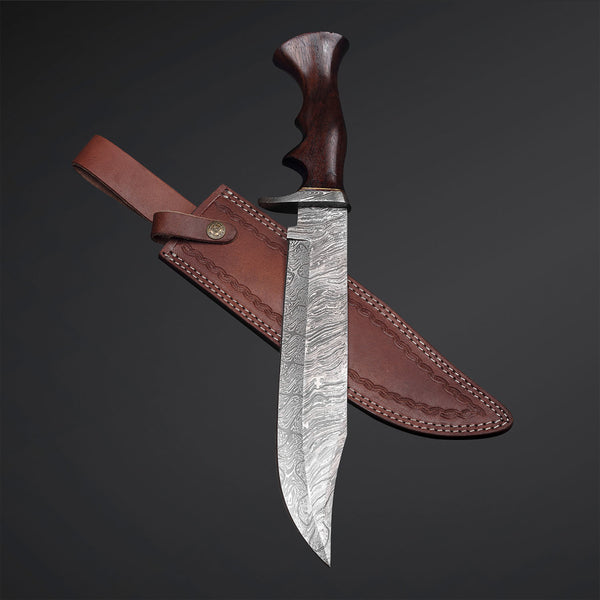 |Knives Hub| Custom Handmade Damascus Steel Bowie Knife With Leather Sheath
