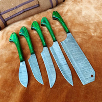 Handmade Damascus Steel Chef Set With Leather Roll Kit