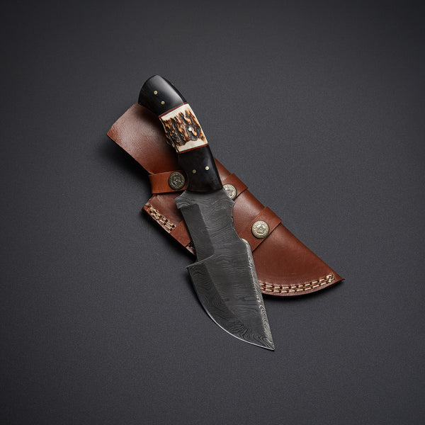 |Knives Hub| Custom Handmade Damascus Steel Tracker Knife With Leather Sheath
