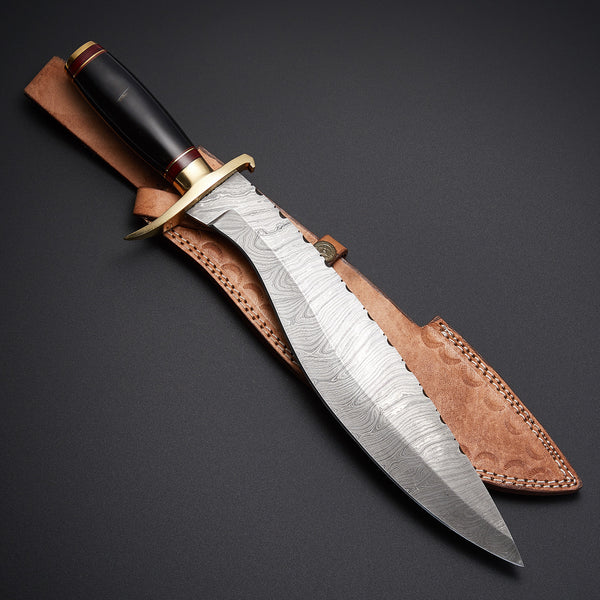 Custom Handmade Damascus Steel Hunting KuKri Knife With Leather Sheath....Knives Hub