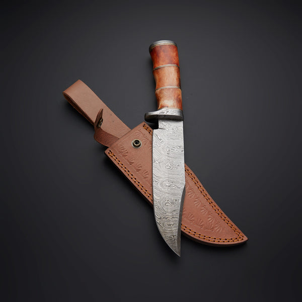 Custom Handmade Damascus Steel Hunting Knife With Leather Sheath....Knives Hub